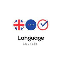 english language school logo course concept vector image