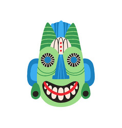 ethnic tribal mask with huge eyes and wide smile vector image