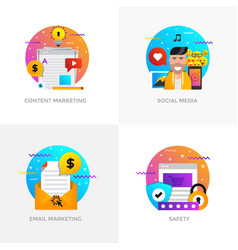 Flat designed concepts - content marketing social vector