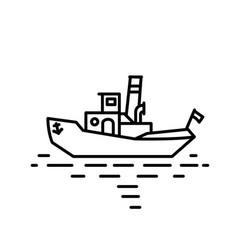 flat linear retro steamship tug vector image