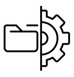 folder and gear icon outline style vector image