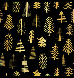 gold foil doodle christmas trees seamless pattern vector image