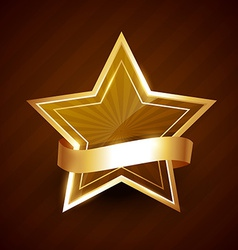 golden star shining with ribbon vector image