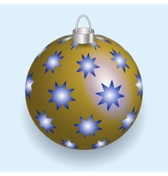 Golden with blue stars Christmas ball reflecting vector