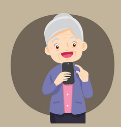 Grandmother with smartphone vector