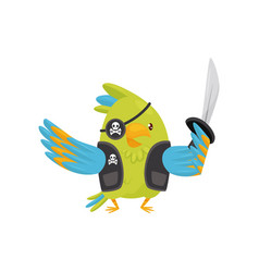 green parrot in pirate costume cartoon character vector image