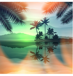 green summer background with sea and palm trees vector image