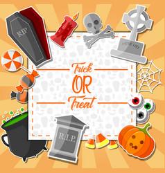 halloween stickers on orange background vector image