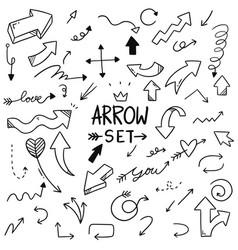 Hand drawn arrows set doodle style vector