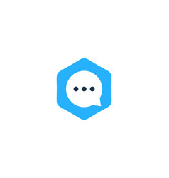 hexagon chat logo icon design vector image