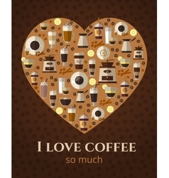 I love coffee sign in shape of heart vector image vector image