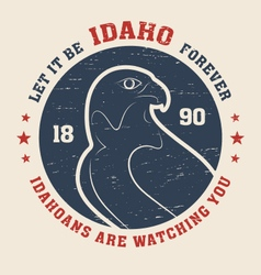 Idaho t shirt with peregrine vector