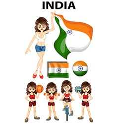 Indian girl doing different sport vector image