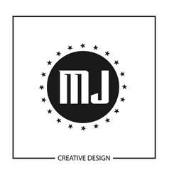 initial letter mj logo template design vector image