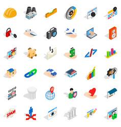 internet icons set isometric style vector image