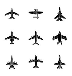jet icons set simple style vector image