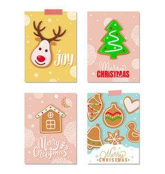 joy and merry christmas gingerbread cookies set vector image
