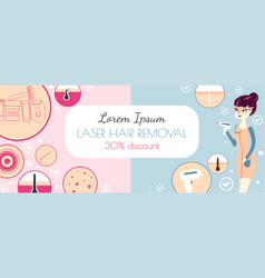 laser hair removal or photoepilation template of vector image