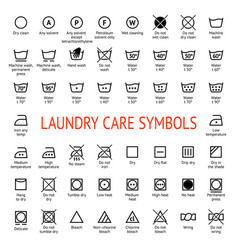 Laundry care symbols cleaning icons set washing vector