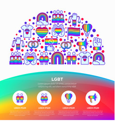 lgbt concept in half circle with thin line icons vector image