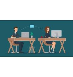 Man and woman at computer monitor office vector