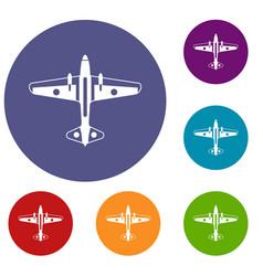 military aircraft icons set vector image