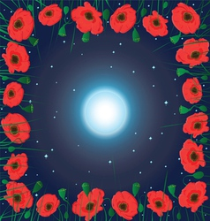 moon on the sky and field of poppy flowers vector image