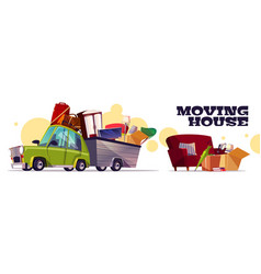Moving house on car cartoon concept vector