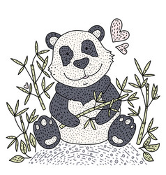panda bear with bamboo vector image