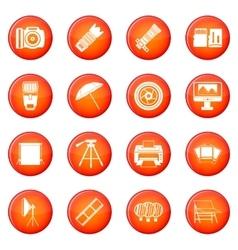 Photo studio icons set vector
