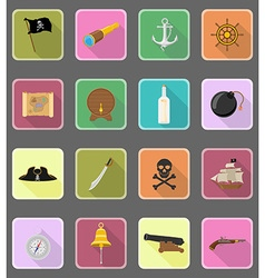 pirate flat icons 19 vector image