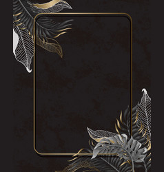poster with tropical monochrome leaves and gold vector image