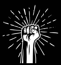 Power clenched raised fist hand gesture vector