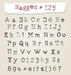 ragged typewriter hand drawn font vector image
