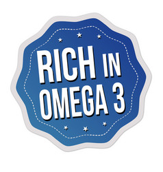 rich in omega 3 label or sticker vector image