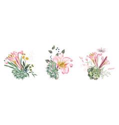 romantic decorative bouquet vector image