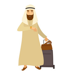 Saudi arab man with travel bags cartoon vector