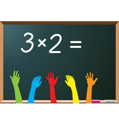School students raising hands vector