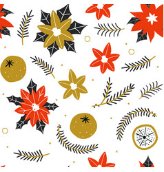seamless pattern with hand drawn poinsettia vector image