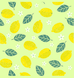 Seamless pattern with lemon leaves vector
