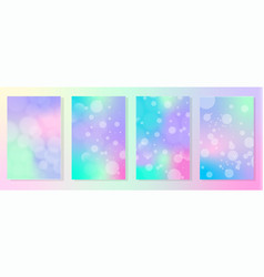 set 4 gradient holographic backgrounds vector image