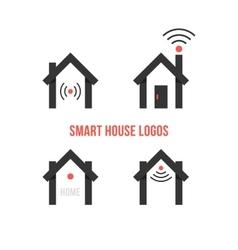 set four black smart house logos vector image