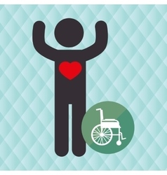silhouette person heart wheelchair vector image