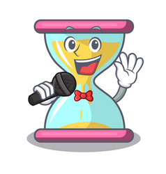 singing modern hourglass on the table cartoon vector image