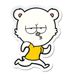 Sticker of a bored polar bear running cartoon vector
