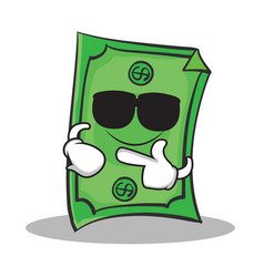 Super cool dollar character cartoon style vector