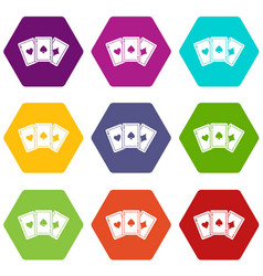 three aces playing cards icon set color hexahedron vector image