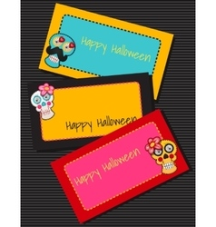 Three horizontal cards with fabric skulls vector image