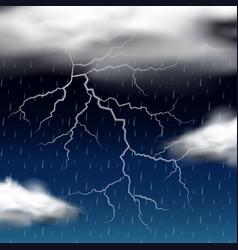 Thunder storm at night vector