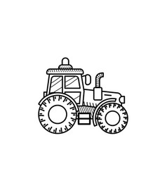 Tractor black and white vector